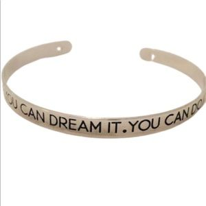 Inspirational message go-getter bangle bracelet